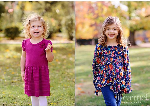 Fall family photos in McKinley Park Sacramento young daughters