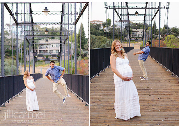 maternity portraits on a bridge in Old Sacramento wearing a white dress