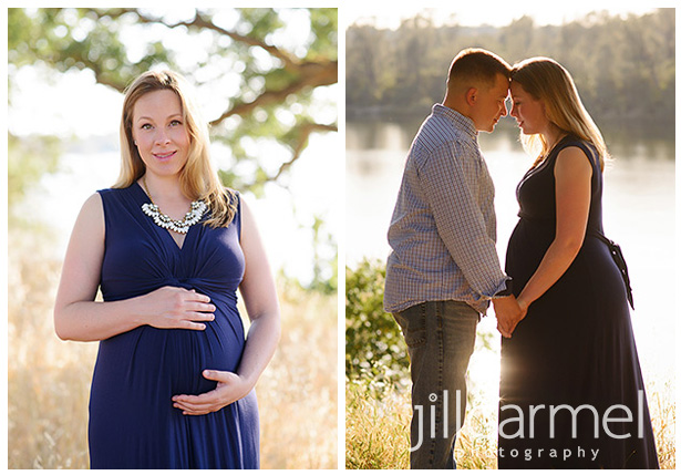 outdoor maternity session by the river in a blue dress