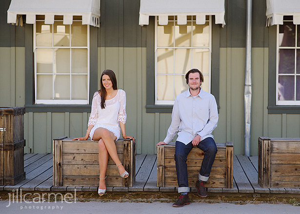 brother and sister high school senior portrait in old town sacramento
