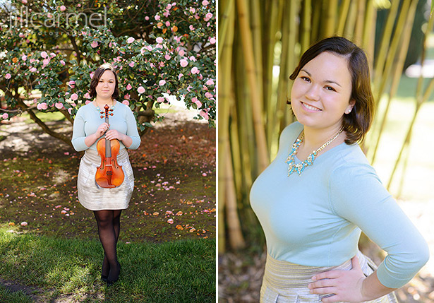 high school senior portrait in Sacramento's capitol park with violin