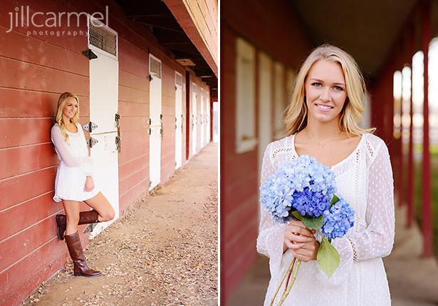 high school senior portraits at a red barn with girl wearing cowboy boots and holding hydrangeas