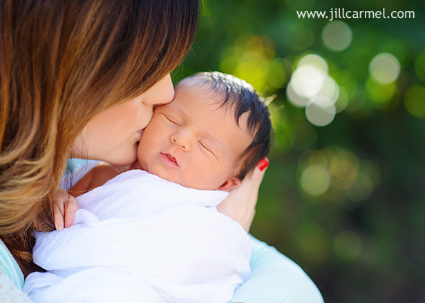 kisses from mother with soft background