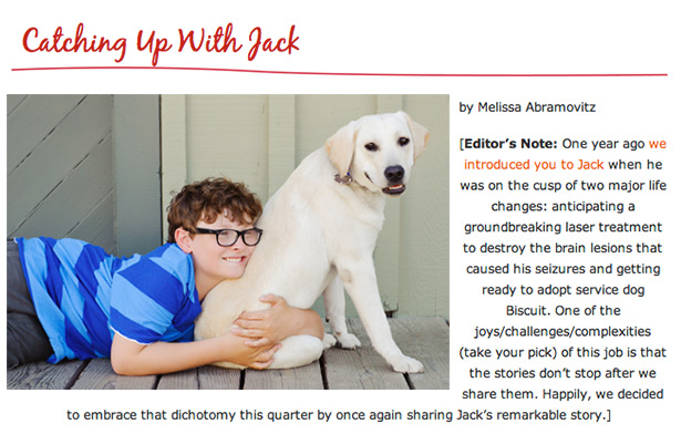 article about autism Jack and his service dog