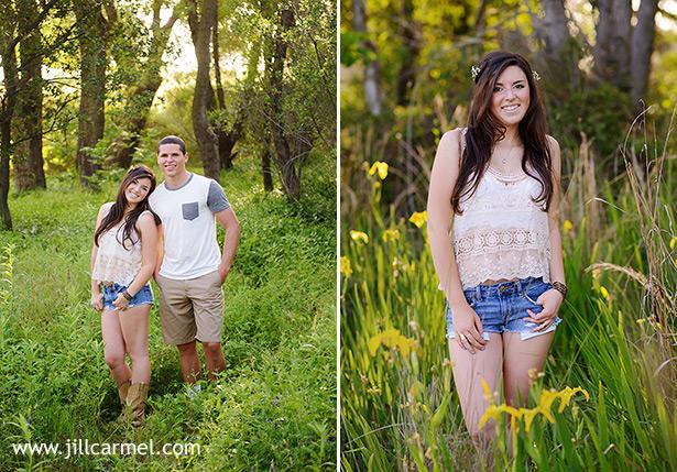senior portraits include her boyfriend with yellow wild flowers