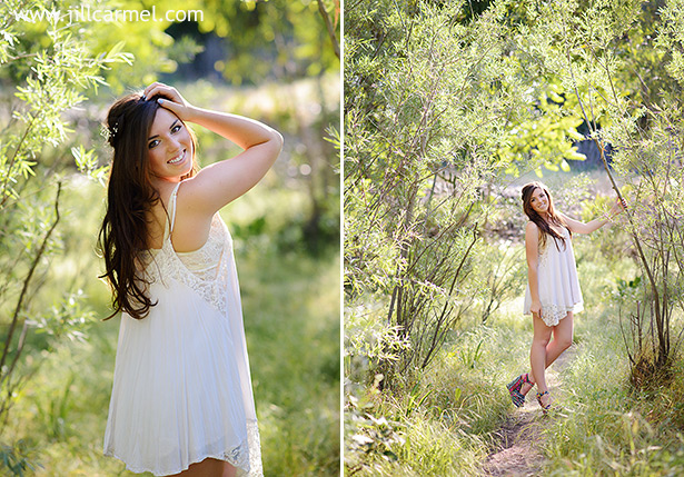 sunset light lace dress tall trees graduation pictures