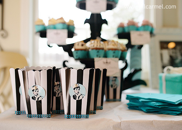 audrey themed party favors at this breakfast at Tiffany's birthday