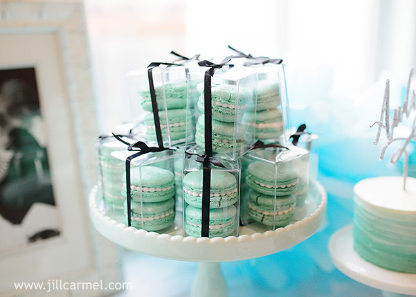 macarons are best in tiffany blue at a first birthday party