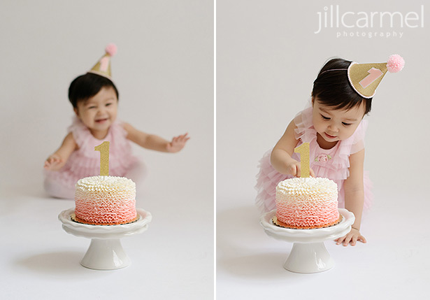 lacy pink mini cake for first birthday cake smash pictures