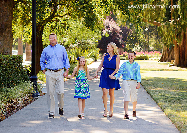 family walking in front of the california capitol in sacramento