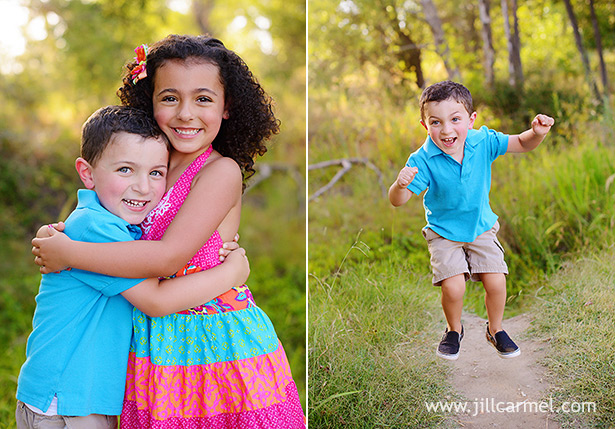 sibling portraits and little boy jumps up high