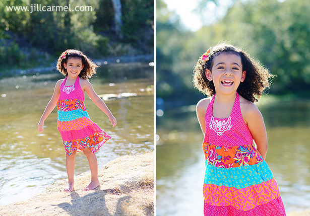 pretty pink and blue dress for pictures on the river