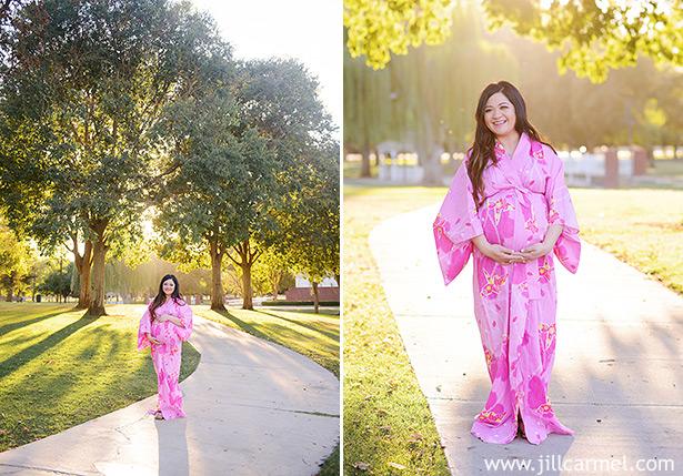 pink kimono maternity photographs in elk grove park