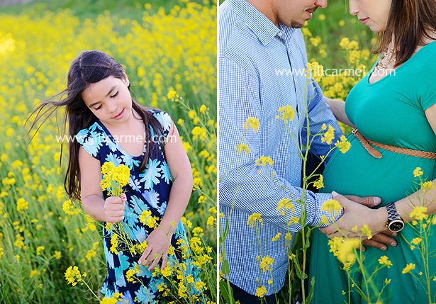 the yellow flowers in spring are so pretty for maternity sessions