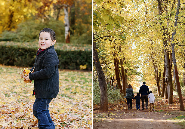 throwing fall leaves at empire mine in grass valley for family portraits