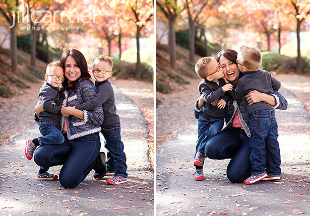 hugs for mom amongst the fall leaves for family pictures
