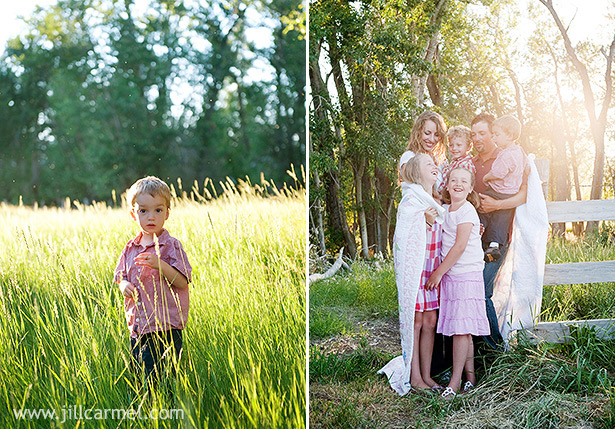 a sunset meadow is the perfect spot for family pictures