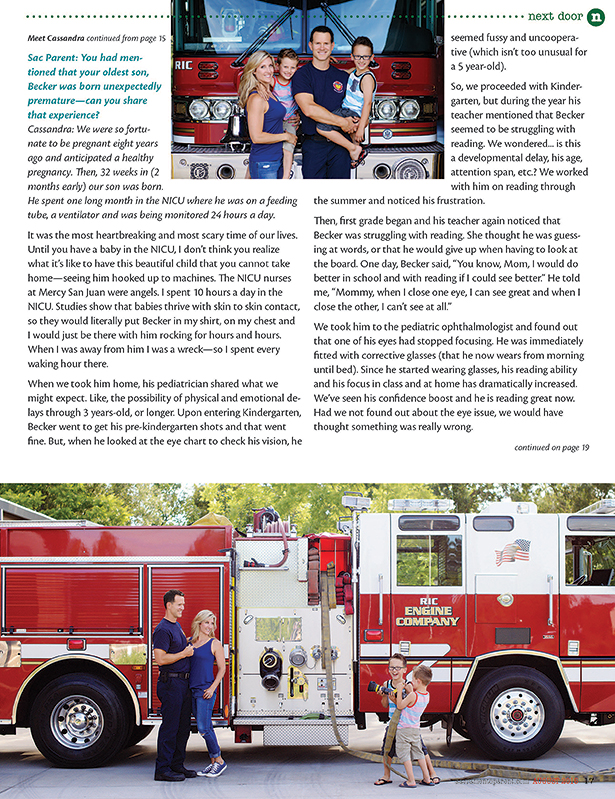 firefighter family in front of firetruck for portraits and magazine