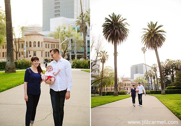 family walking together in downtown sacramento one of the few places you can find palm trees in sacramento