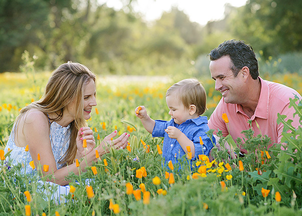 family portraits in davis spring wildflower field