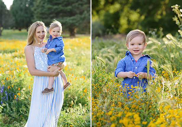 mother and son in a field of davis poppies