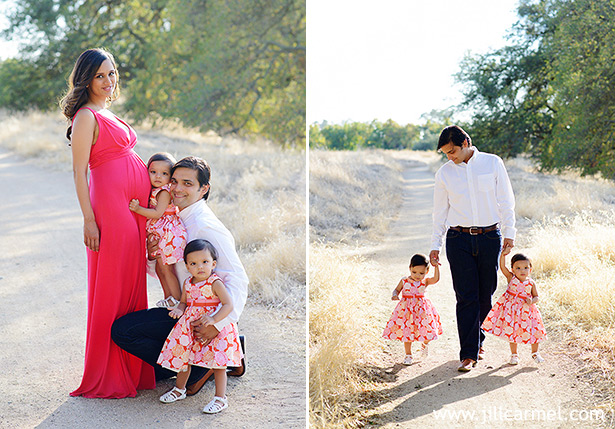 family portraits with pregnant belly pink dresses and sunset light