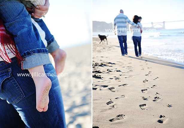 footprints in the sand for family pictures in San Francisco