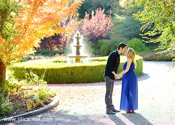 autumn maternity pictures taken by the fountain at monte verde inn