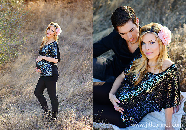 sequins and rose head band for maternity pictures in the sunset grass