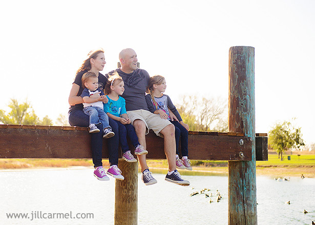 family picture on the dock over the pond at Gibson Ranch