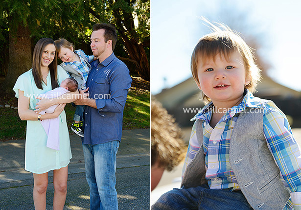 big brother sibling with plaid shirt and a vest in his sisters newborn portrait session