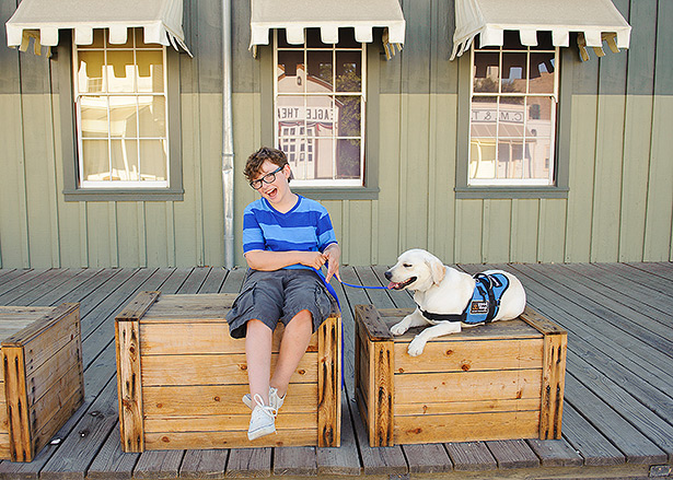jack and biscuit are best friends hanging out in Old Sacramento