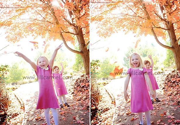 kids having throwing fall leaves for their el dorado hills family portraits