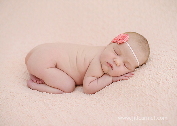 pink flower headband and pink blanket backdrop for this newborn session | Jill Carmel