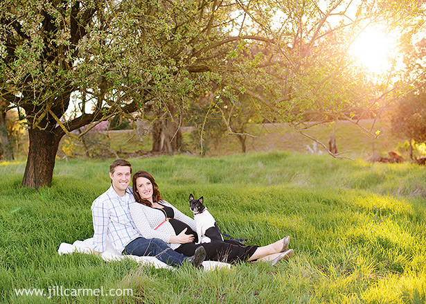 family portrait with the dog in a spring field with the sun setting behind