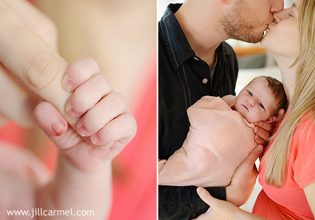 tiny hand grabs a finger for newborn portraits