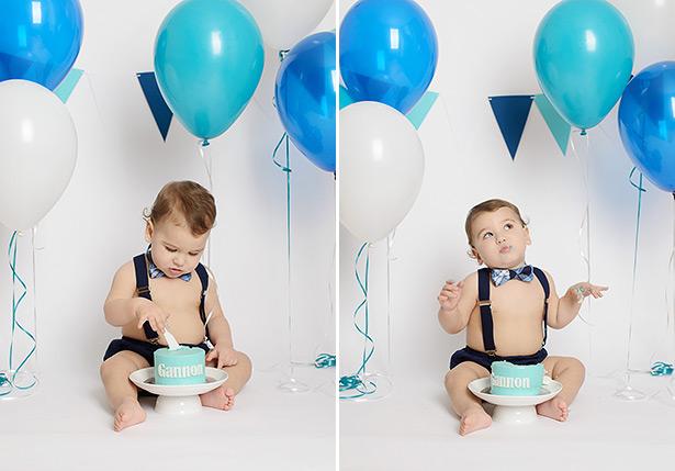 sacramento studio cake smash boy's birthday blue balloons simple backdrop