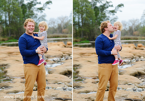 daddy cuddles and kisses by the river family portraits