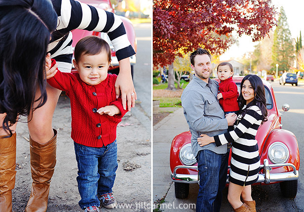 family portrait in front of red volkswagen on a fall day and red sweater