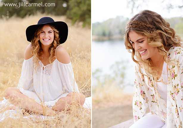 floral blouse and floppy black hat for bohemian senior portrait outfit