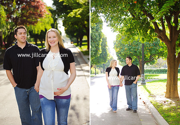 walking through the orange trees at the sacramento capitol for their maternity session