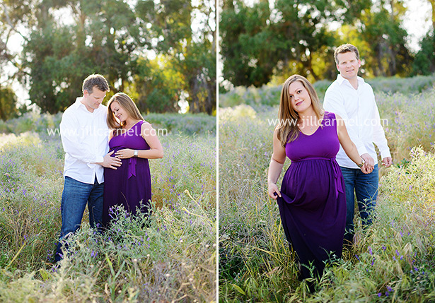 perfect light coming through the trees while couple walks in the field