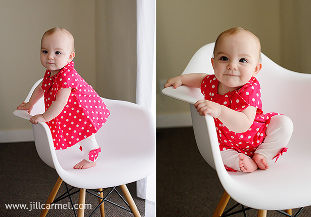 bright pink polka dot dress with white chair and window light