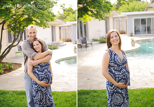standing by the pool with blue dress for sacramento pregnancy portraits