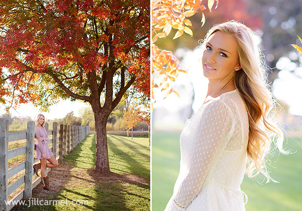 senior portraits in the fall with a lace crochet dress at Gibson Ranch