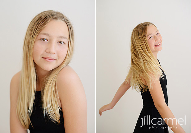 graceful tween portraits in the studio
