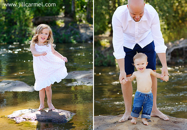 sister is showing off her pretty dress while little brother walks shirtless in the water