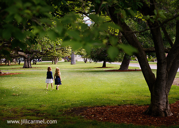 walking through the shaded trees for their portraits