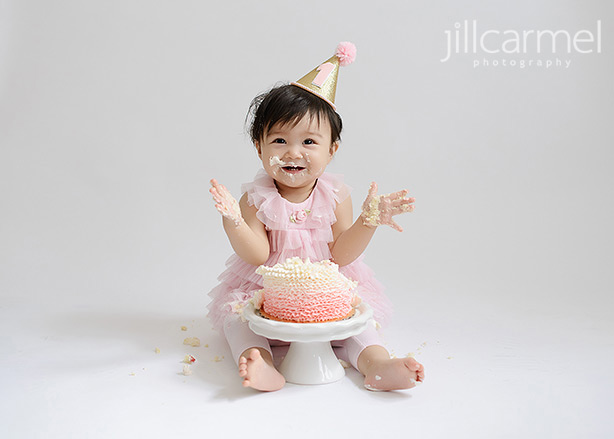 smushed cake in hair for sacramento studio cake smash portraits