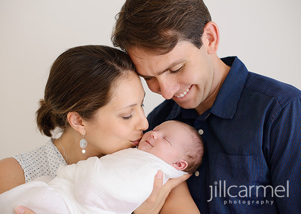 baby smiling for studio newborn session